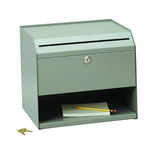 STEELMASTER Counter-Top Slotted Suggestion Box, Includes Keys, Gray (22290SBGY)