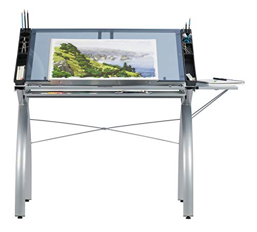 SD Studio Designs 10095 Futura Station with Folding Shelf Top Adjustable Drafting Craft Drawing Hobby Table Writing Studio Desk with Drawer, 35.5'' W x 23.75'' D, Silver/Blue Glass