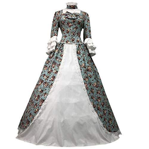 I-Youth Womens Victorian Gothic Queen Lolita Dress Ball Gown Steampunk Costume (S, Floral)