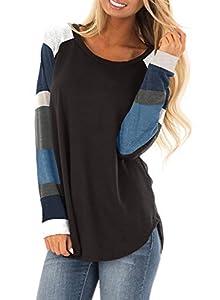 BLENCOT Women's Lightweight Color Block Long Sleeve Loose Fit Tunics Shirts Tops