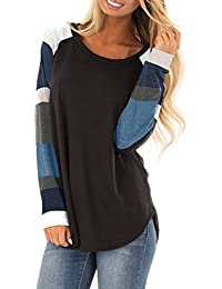 Women's Lightweight Color Block Long Sleeve Loose Fit Tunics Shirts Tops