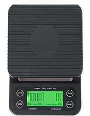 MUHWA Keukenweegschaal met timer, draagbare elektronische weegschaal, 3 kg/0,1 g, zwart, hoge precisie, lcd-display, digitaal display