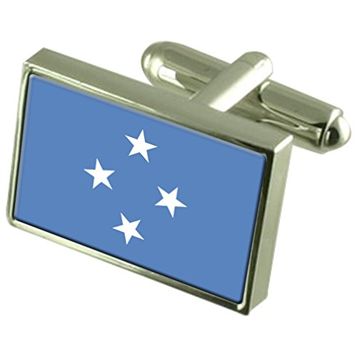 Micronesia Sterling Silver Flag Cufflinks by Select Gifts
