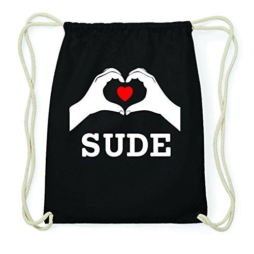 JOllify SUDE Hipster Turnbeutel Tasche Rucksack aus Baumwolle - Farbe: schwarz Design: Hände Herz