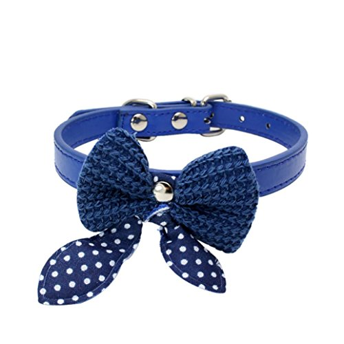 Discount Cookware (Haoricu Pet Collars, Knit Bowknot Adjustable PU Leather Dog Puppy Necklace (Blue))