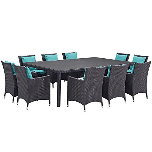 Modway Convene Collection EEI-2240-EXP-TRQ-SET 11-Piece Outdoor Patio Dining Set with Dining Table and 10 Armchairs in Espresso (Collection Patio Dining Set)