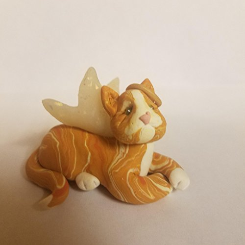 Miniature Orange (Orange and White TABBY CAT Angel CHRISTMAS ORNAMENT Pet Memorial Christmas Lights Hand Made Polymer Clay OOAK)
