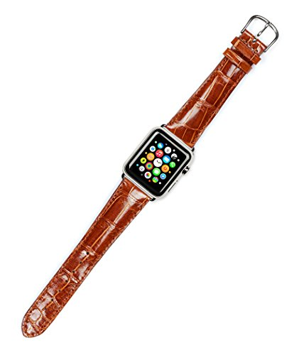 (Debeer Replacement Watch Band - Genuine Alligator - Shiny Finish - Havana - Fits 42mm Apple Watch [Silver Adapters])