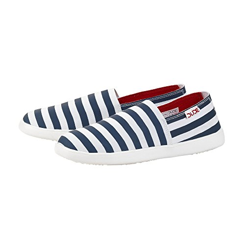Stripe Uk4 Blue Women's Eu37 Slip Shoes Capri bands On Stretch E Dude nO0WTwSpqW