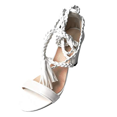 2019 New Women's Casual Lace-Up Roman Shoes,Summer Outdoor Open Toe Square High Heel Sneak Ankle Party Sandals Shoes (White, US:8.5)