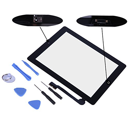 iPad 4 Replacement Front Glass Digitizer - HDE Touch Screen + Screwdriver Pry Tool Kit + with Home Button for iPad 4 (Black)