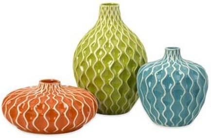 IMAX 25016-3 Agatha Ceramic Vases Set of 3 Decorative Vases for Flowers Handcrafted Vessels with Wave Surface Texture Design. Home Decor Accessories