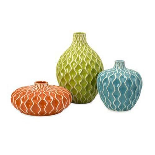 IMAX 25016-3 Agatha Ceramic Vases - Set of 3 Decorative Vases for Flowers - Handcrafted Vessels with Wave Surface Texture Design. Home Decor Accessories