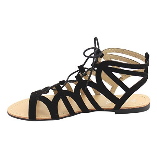 Anna Ie58 Femmes Lace Up Gladiator Strappy Dos Nu Sandale Plate Noir