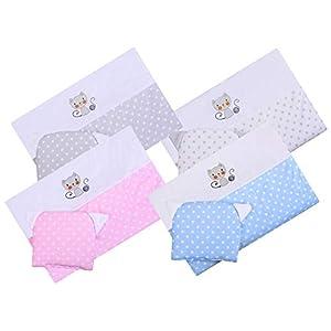 BlueberryShop Luxury Emboidered Cotton Pram Crib Moses Basket 2pc Set Quilt & Pillow (29.5″ x 25.5″) (0-12 m) (75 x 65 cm) Pink