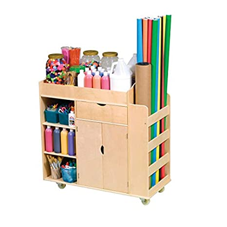 Guidecraft Art Activity Cart Rolling Wooden Storage Cabinet And Shelves Arts And Crafts Supply School Furniture