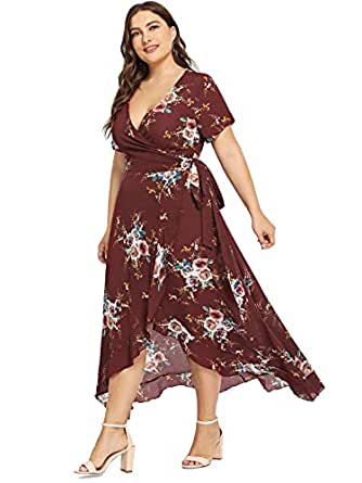 Milumia Womens Plus Size Wrap Dress Floral Boho Empire Waist Short Sleeves Party Homecoming Chiffon 0XL Red