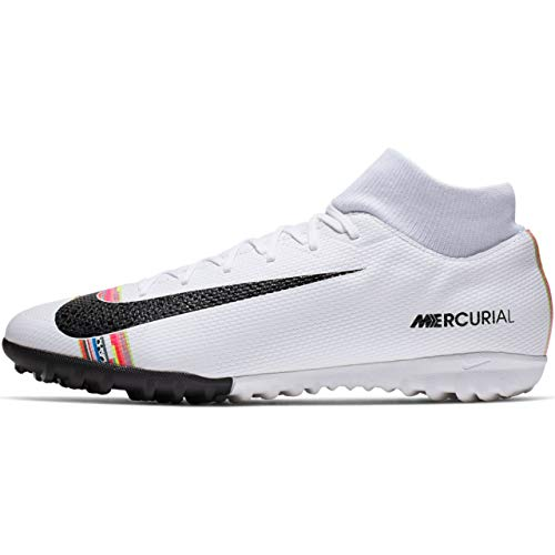 Mens Nike Football Shoes - Nike Men's CR7 SuperflyX 6 Academy Turf Soccer Shoe White/Black/Pure Platinum Size 7.5 M US