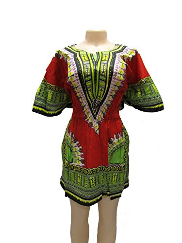 Elegant Women's Traditional Dashiki Dress Print Colors With Elastic Weist (Red) by Mitchell Lewiss
