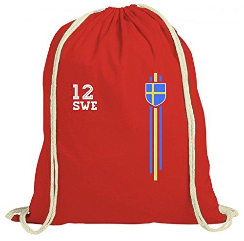 Sverige Sweden World Cup Fussball WM Fanfest Gruppen natur Turnbeutel Rucksack Gymsac Streifen Trikot Schweden Rot Natur r9mE9pvgUa