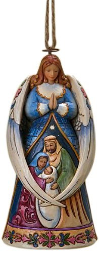 Jim Shore Heartwood Creek Angel with Wings Around Holy Family Stone Resin Hanging Ornament, 4.75""
