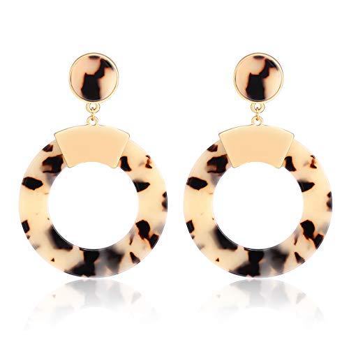 (Women's Leopard Print Drop Hoop Earrings Statement Geometric Earrings Boho Resin Dangles Stud Earrings for Girls (Leopard))