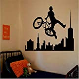 decorating ideas for family rooms LSFHB Removable Amazing Sports Decals Sport Bike BMX Room Bedroom Decorating Ideas Stickers Walls Kids Boys Room 42X60Cm