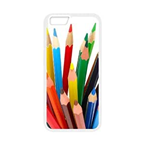 Diy Colored Pencil Phone Case for iphone 6 Plus (5.5 inch) White Shell Phone [Pattern-1]