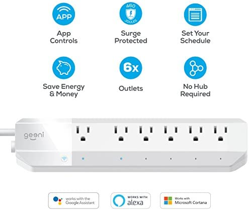 Geeni 6-Outlet Smart Surge Protector No Hub Wireless Remote Control and Timer Works with Amazon Alexa, Google Assistant Microsoft Cortana, Requires 2.4 GHz Wi-Fi, White