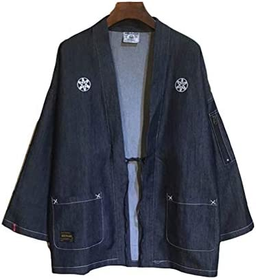 甚平 メンズ 羽織 七分袖 デニムジャケット Gジャン コート 和装 浴衣風 008-jyjmy-d01