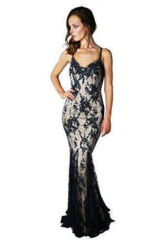 Schal Dynasty Stil 1012740 Andromeda rot nude Lange Damen Nude Navy Jewel Kleid mit FFHwq8rf