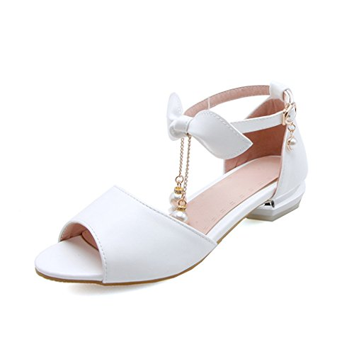 Sandals Female Summer PU Upper Non-Slip Flat Flat Shoes Student Shoes White g02M38N