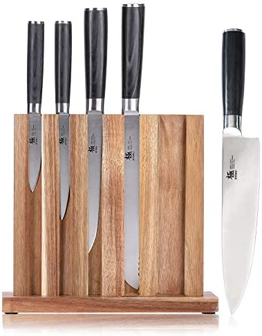 """KYOKU Knife Block Set of 5, 8"""" Chef Knife + 8"""" Bread Knife + 6.5"""" Carving Knife + 5"""" Utility Knife + 3.5"""" Paring Knife – Premium Japanese Steel with ..."""