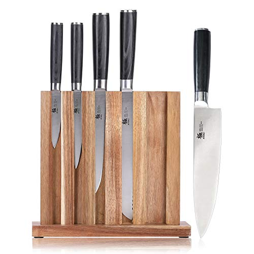 KYOKU Samurai Series, 5-Piece Japanese Knife Block Set - 8'' Chef Knife & 8'' Bread Knife & & 6.5'' Carving Knife & 5'' Utility Knife & 3.5'' Paring Knife & Acacia Wood Block by KYOKU (Image #7)
