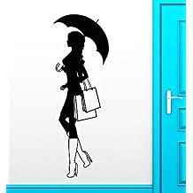 Wall Decal Silhouette Girl Shopping Fashion Style Vinyl Stickers Mural VS2528