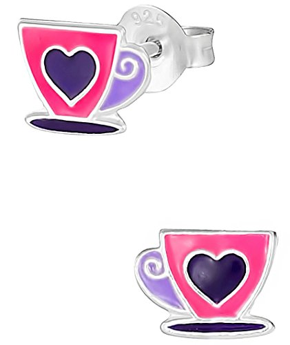 Price comparison product image Hypoallergenic Sterling Silver Pink & Purple Coffee or Tea Cup Stud Earrings for Kids (Nickel Free)