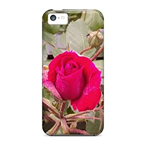 Tpu Case Skin Protector For ipod touch5 Deep Pink Rose With Nice Appearance