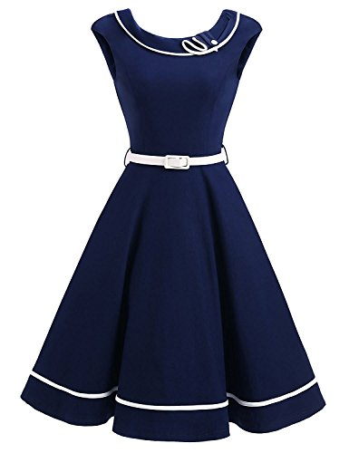 Crissiste 50s Vintage Women Navy Nautical Sailor Rockabilly Cocktail Midi Dress -