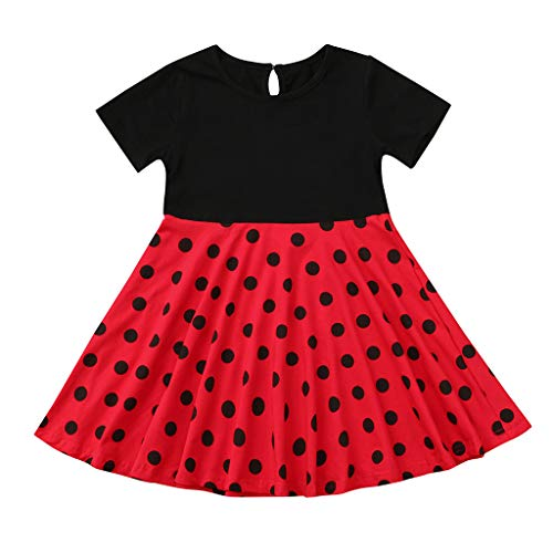 MALLOOM Kids Girls Vintage Dress Polka Dot Princess Swing Rockabilly Party Dresses Red