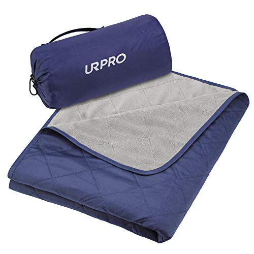 URPRO Waterproof Warm Fleece Outdoor Blanket Extra Large Lightweight Portable with Carry Bag for Stadium, Picnic, Camping, Beach, Dogs, Sofa Blue