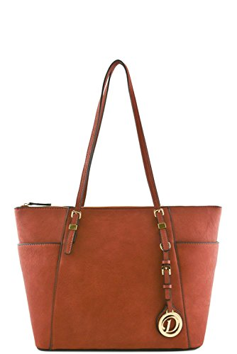 womens-designer-faux-leather-tote-bag-with-side-open-pockets-va2001-dark-pink