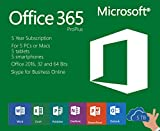 Microsoft Office 365 Pro 5 Years Subscription | Includes Office 2016 Pro Plus | 5 Devices 32 and 64 Bits Mac and PC: more info
