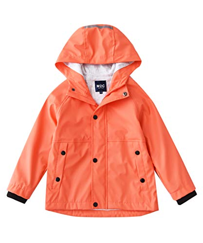 M2C Boys Girls Hooded Cotton Lined Waterproof Rain Jackets Windproof Raincoats Living Coral 6/7 ()