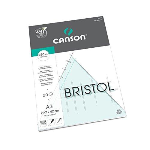 Bloc Encolado, A3, 20 Hojas, Canson Bristol Satinado 250g