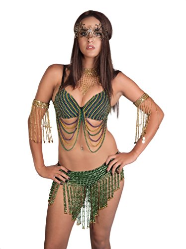 Tribal Bra - Western Fashion, inc. Sexy Mardi Gras SWAG Bra Tribal Dance Purple Gold Green Beaded Exotic Rave Burning Man (S/M)