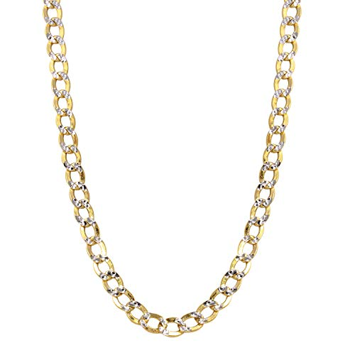 Bee Jewels Men's 14k Two-Tone Gold 4.5mm Hollow Cuban Curb White Pave Chain Necklace - Chain Pave 180 Curb Necklace