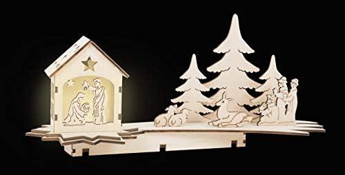 small foot company Lampada Forma di Stella cadente, presepe scolpito in Legno Naturale con Illuminazione a LED, Decorazione Natalizia con i Tre Re Magi, Natura