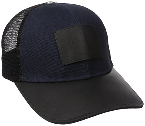 Armani Exchange Men's Logo Patch Mesh Trucker Hat, Sky Captain, One Size