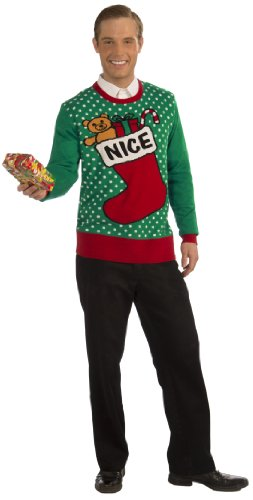 Adele Fancy Dress Costume (Forum Novelties Adult Extra Large Nice Stocking Ugly Christmas Sweater, Multi, X-Large)