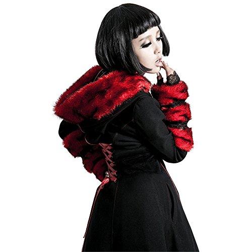 Gothic Lolita Style Woolen Fur Coat Steampunk Autumn Winter Fashion Long Sleeve Hooded Long Jackets (L, Black) by Punk (Image #5)